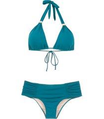 brigitte ruched bikini set - green