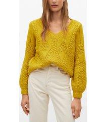 mango women's v-neckline oversize sweater