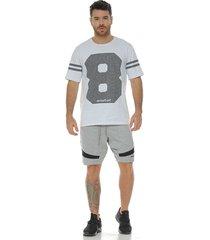 camiseta cuello redondo estampado en frente blanco racketball para hombre