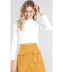 blusa feminina em tricô cropped canelada gola alta manga longa off white