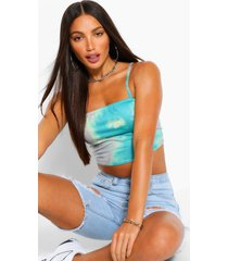 tall tie dye strappy crop top, green