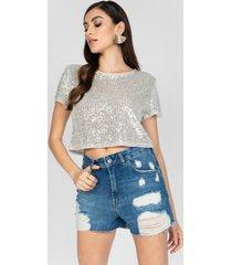 t-shirt dimy cropped de paet㪠prata - prata - feminino - dafiti