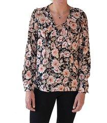 blusa estampado de flores negra alexandra cid
