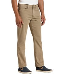 joseph abboud tan classic fit sateen twill casual pants