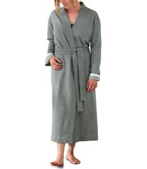 coyuchi unisex mediterranean organic cotton robe, size small/medium - grey