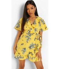 petite bloemen jurk met ruches, yellow