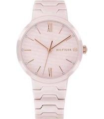 tommy hilfiger women's blush monochrome dress watch blush -
