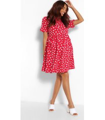maternity floral button front smock dress, red