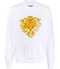 versace jeans couture baroque heart-print sweatshirt - white