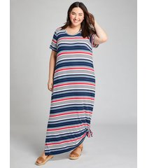 lane bryant women's striped tie-hem midi dress 26/28 red, white & blue stripe