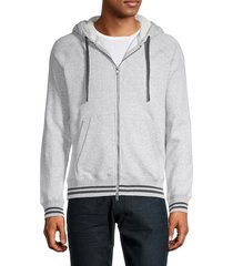 mills supply men's faux shearling-lined zip hoodie - grey heather - size m