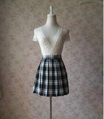 women school style plaid skirt black and white plaid skirt short pleated skirts