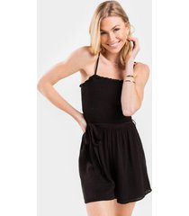 brittni smocked side tie romper - black
