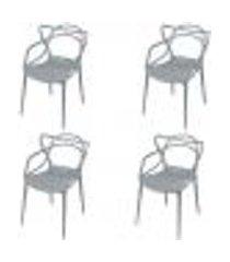 conjunto 4 cadeiras allegra - cinza
