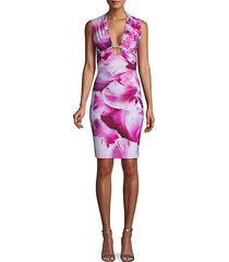 embellished orchid-print dress