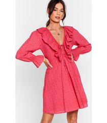 womens frill got love for you broderie mini dress - hot pink