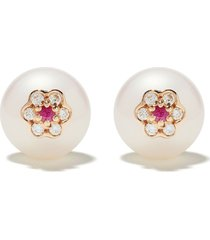 david morris berry pearl flower stud earrings - rose gold