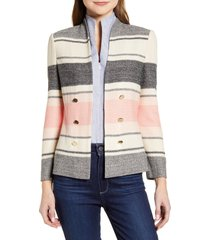 women's ming wang stripe knit jacket, size x-small - coral