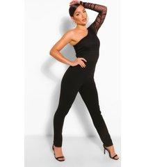 one shoulder dobby ruched skinny leg jumpsuit, black