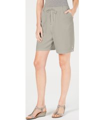 karen scott petite cotton pull-on shorts, created for macy's