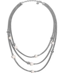 'classic chain' freshwater pearl sterling silver triple row necklace
