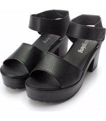 sandali con plateau tacchi squadrati in pelle pu a punta aperta con velcro