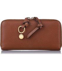 chloe alphabet leather zip around wallet brown sz: