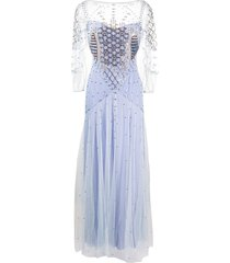temperley london promise geometric-beaded gown - purple