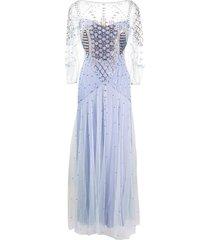 temperley london promise geometric-beaded gown - purple