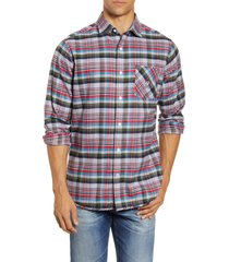 men's psycho bunny axminster plaid button-up flannel shirt