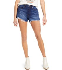 women's blanknyc the barrow distressed high waist denim shorts