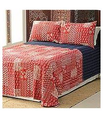 cotton bedspread and pillow shams, 'kantha charm in red' (3 piece) (india)