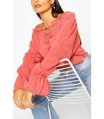woven dobby off the shoulder top, terracotta