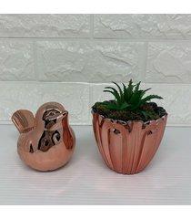 conjunto decorativo de vaso e pã¡ssaro rose gold - ros㪠- feminino - dafiti