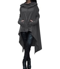 women fashion draw cord coat long sleeve loose casual poncho coat hoodies black