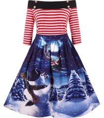 christmas vintage snowman print off the shoulder dress