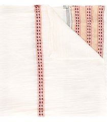 forte forte metallic embroidered panel scarf - neutrals