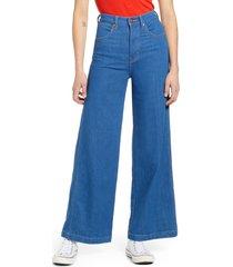 women's wrangler high waist wide leg jeans, size 26 x 30 - blue