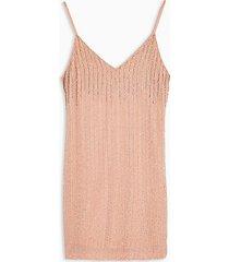 pastel pink beaded slip dress - pink