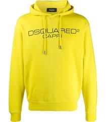 dsquared2 capri logo print hoodie - yellow