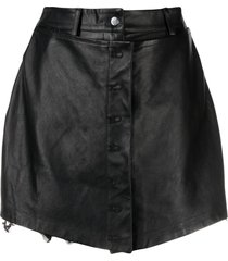 almaz high-waisted leather skort - black