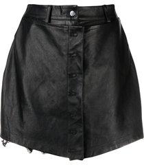 almaz high-waisted leather skort - black