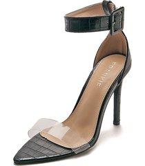 sandalias de tacón delgado en negro con tira transparente - adelle - frankie