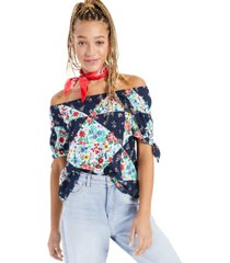 style & co patchwork off-the-shoulder top, created for macy's