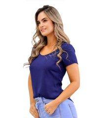 blusa en chifón manga corta azul oscuro unipunto 32375