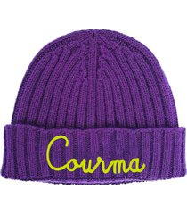 purple blended cashmere woman cap courma embroidery