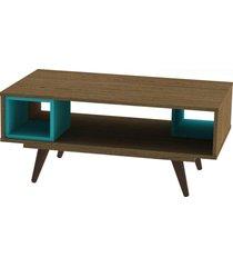 mesa centro retrã´ 45 rustik  olivar marrom/azul - marrom - dafiti
