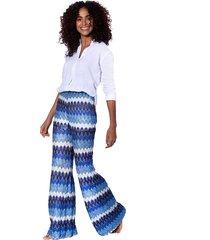 blue knitted palazzo pants