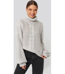 donnaromina x na-kd chunky cable knit sweater - grey
