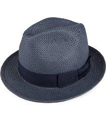 bow-trim straw fedora hat